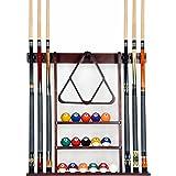 Cue Rack Only- 6 Pool Billiard Stick + Ball Set Wall Rack Holder Made of 100% Wood Choose Mahogany, Dark oak or Black Finish