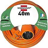 Brennenstuhl 1162401- Cordon prolongateur (40 m) avec fiche 2P (16A/230V), rallonge électrique avec câble H05VV-F 2x1,5 - Coloris Orange