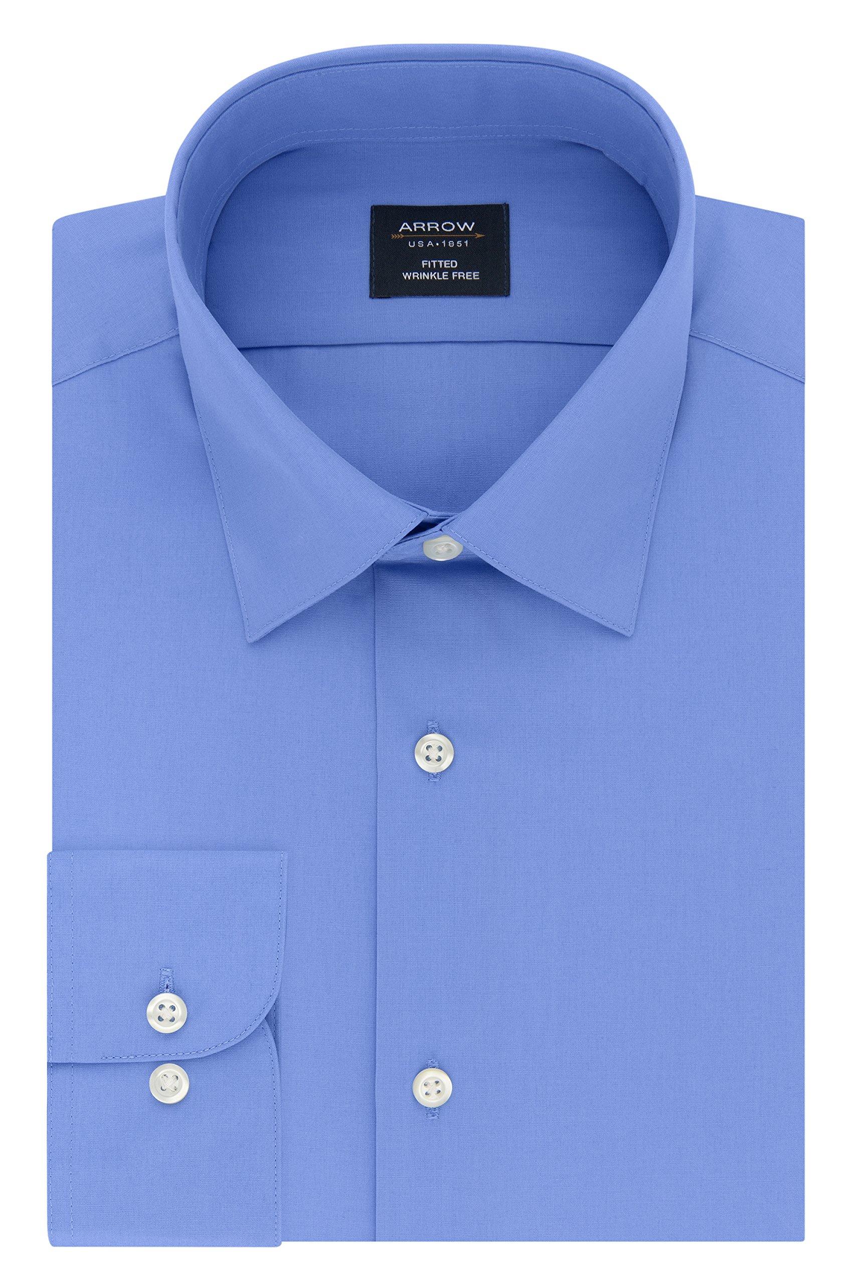 Arrow Men's Dress Shirt Poplin Fitted Spread Collar, Corn Flower, 15-15.5'' Neck 34-35'' Sleeve