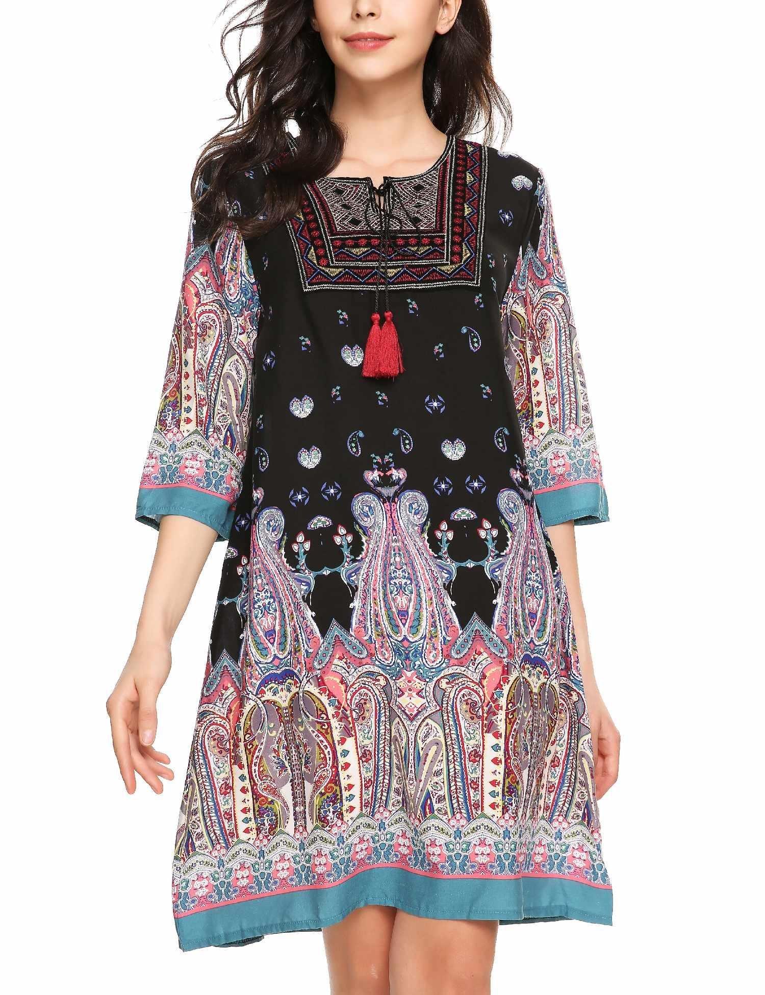 ELESOL Women's 3/4 Sleeve Ethnic Style Bohemian Printed Mini Floral Tunic Dress Dark Blue S