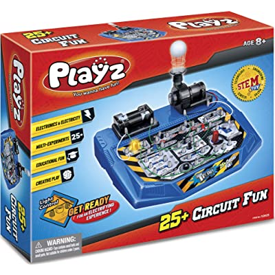 Playz Electrical Circuit Board Engineering Kit for Kids with 25+ STEM Projects Teaching Electricity, Voltage, Currents, Resistance, & Magnetic Science | Gift for Children Age 8, 9, 10, 11, 12, 13+: Toys & Games