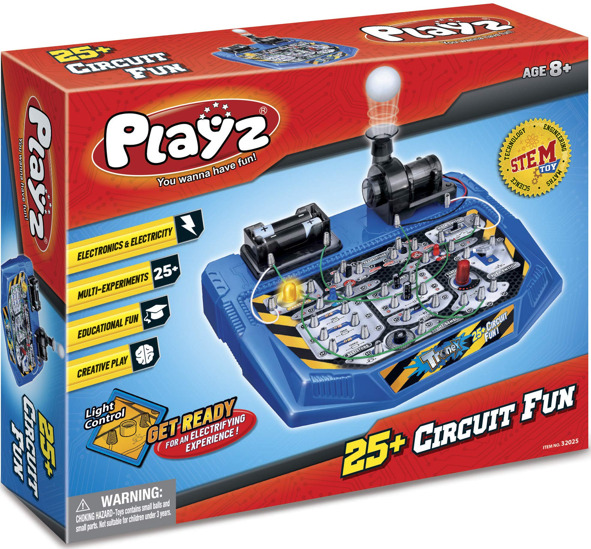 Playz Electrical Circuit Board Engineering Kit for Kids with 25+ STEM Projects Teaching Electricity, Voltage, Currents, Resistance, & Magnetic Science   Gift for Children Age 8, 9, 10, 11, 12, 13+