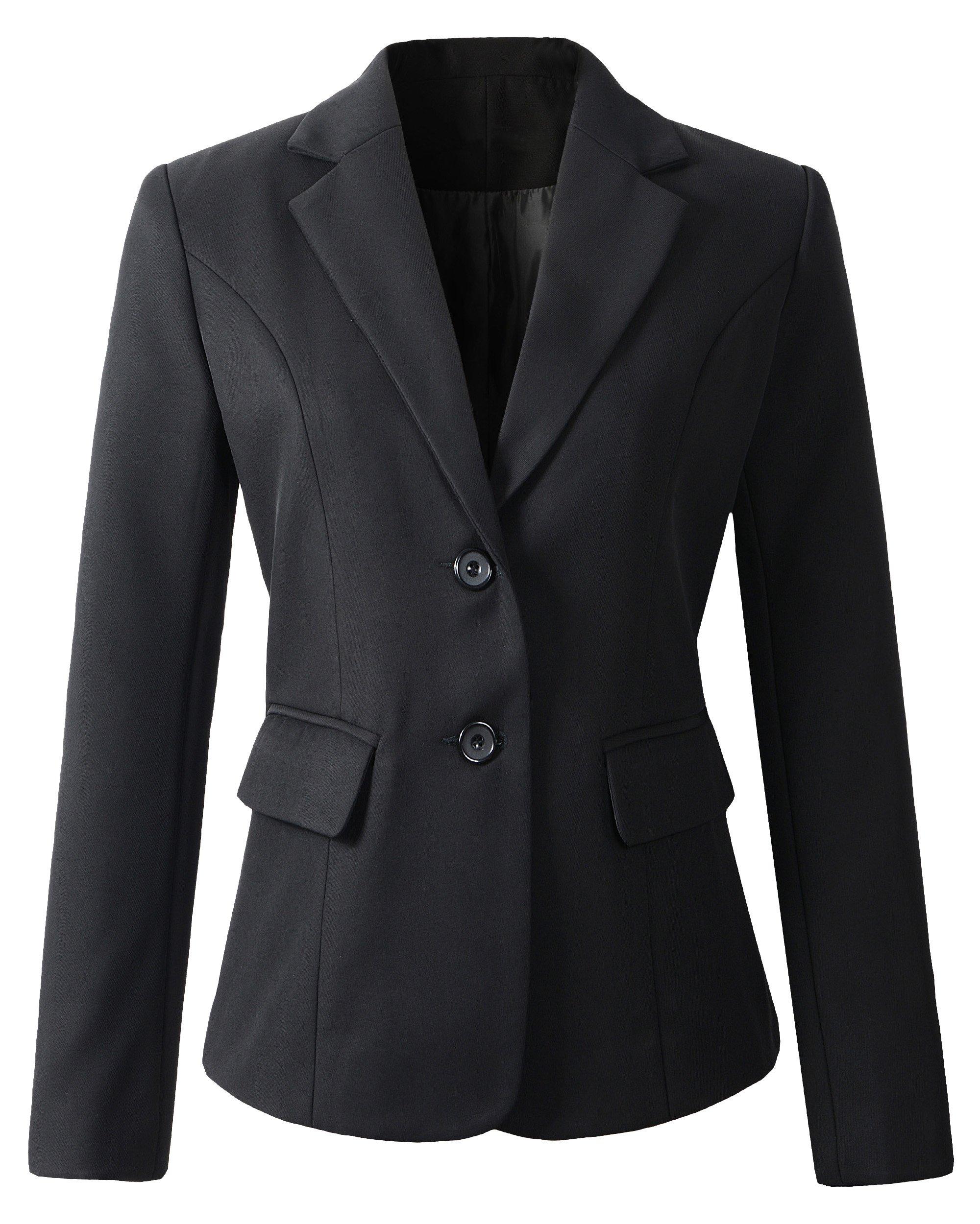 Benibos Womens Formal 2 Button Blazer Jacket (L, 918Black)