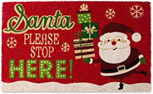 DII Natural Coconut Coir Holiday Season Doormat, 18x30, Santa Stop Here