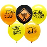 """Construction Party Supplies - 25 Construction Themed Balloons - 12"""" Construction Zone Party Balloons - Perfect for Builder Themed Parties!"""