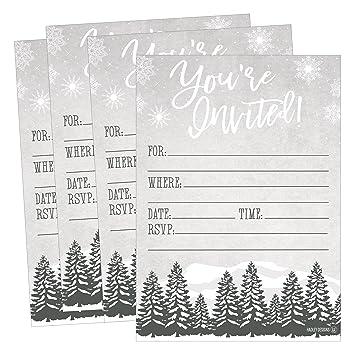 amazon com 25 woodland christmas holiday invitations snowflake