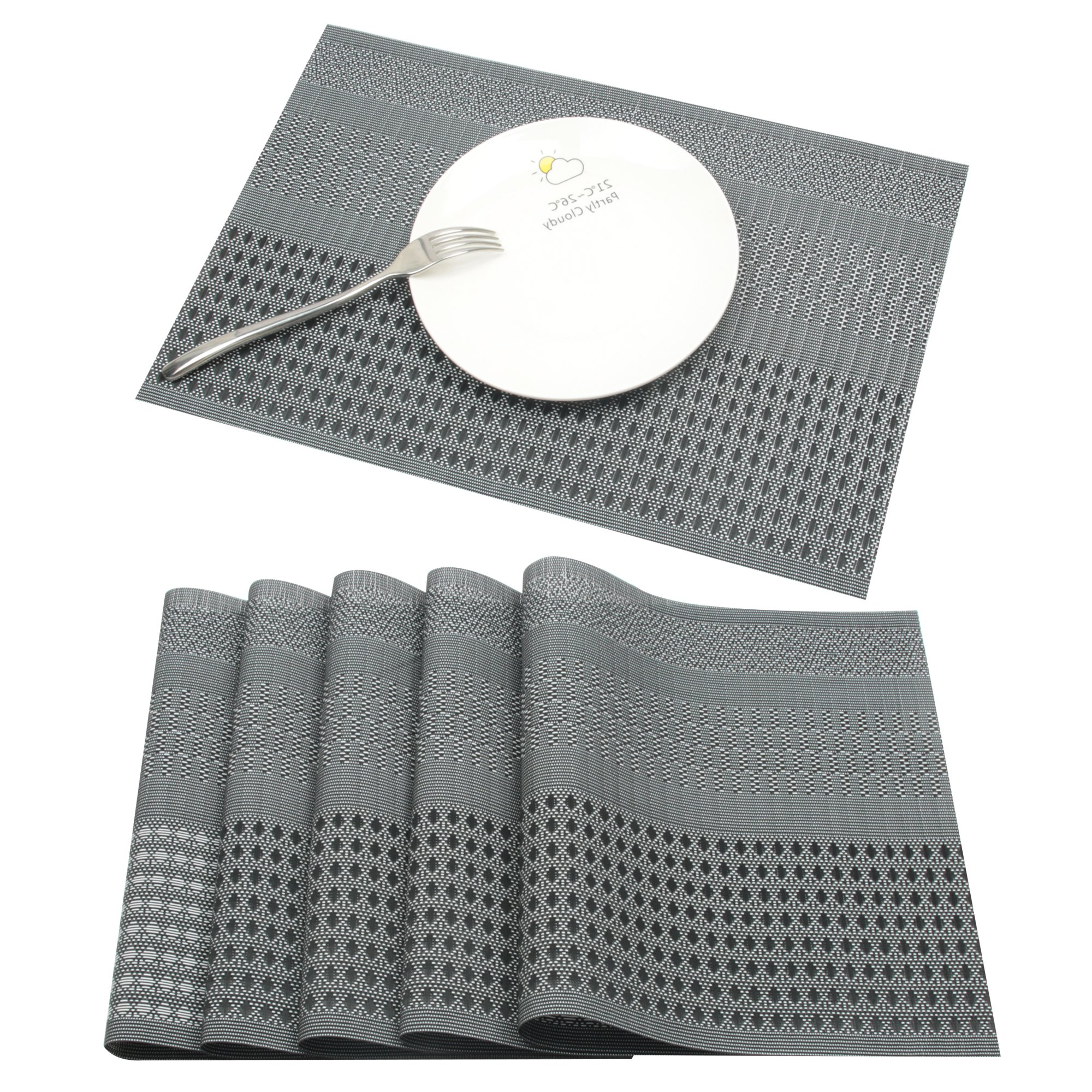 Famibay Stain Resistant Placemats PVC Non-slip Place Mats Durable Double-faced Crossweave Woven Table Mats for Kitchen Dining Table 45x30cm Dark Grey Set of 6