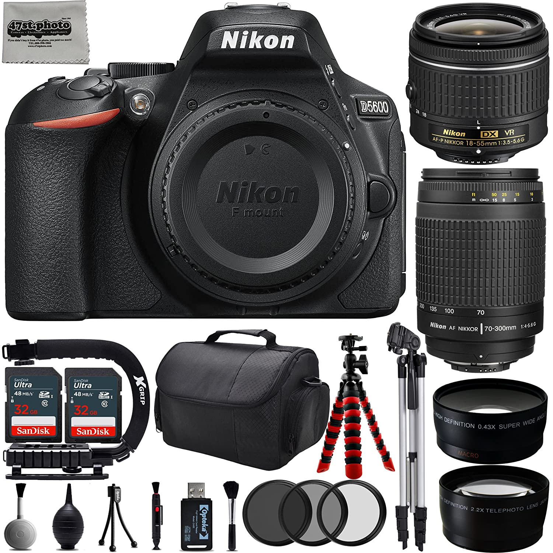 Nikon D5600 24.2MP 1080P DSLR Camera w/ 3.2' LCD - Wi-Fi & GPS Ready + 4 Lens - 18 to 300mm - 64GB - 30PC Kit - Nikon 18-55VR - Nikon 70-300G - Opteka 2.2X Tele - Opteka 0.43x Wide 47th Street Photo NKD5600CK3