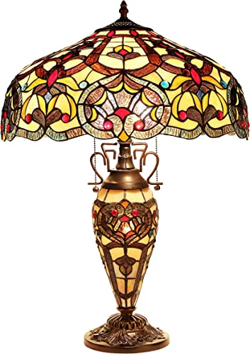 Chloe Lighting CH33473IV18-DT3 Tiffany Sadie -Style Victorian 3-Light Double Lit Table Lamp with Shade, 25.4 x 18 x 18 , Bronze