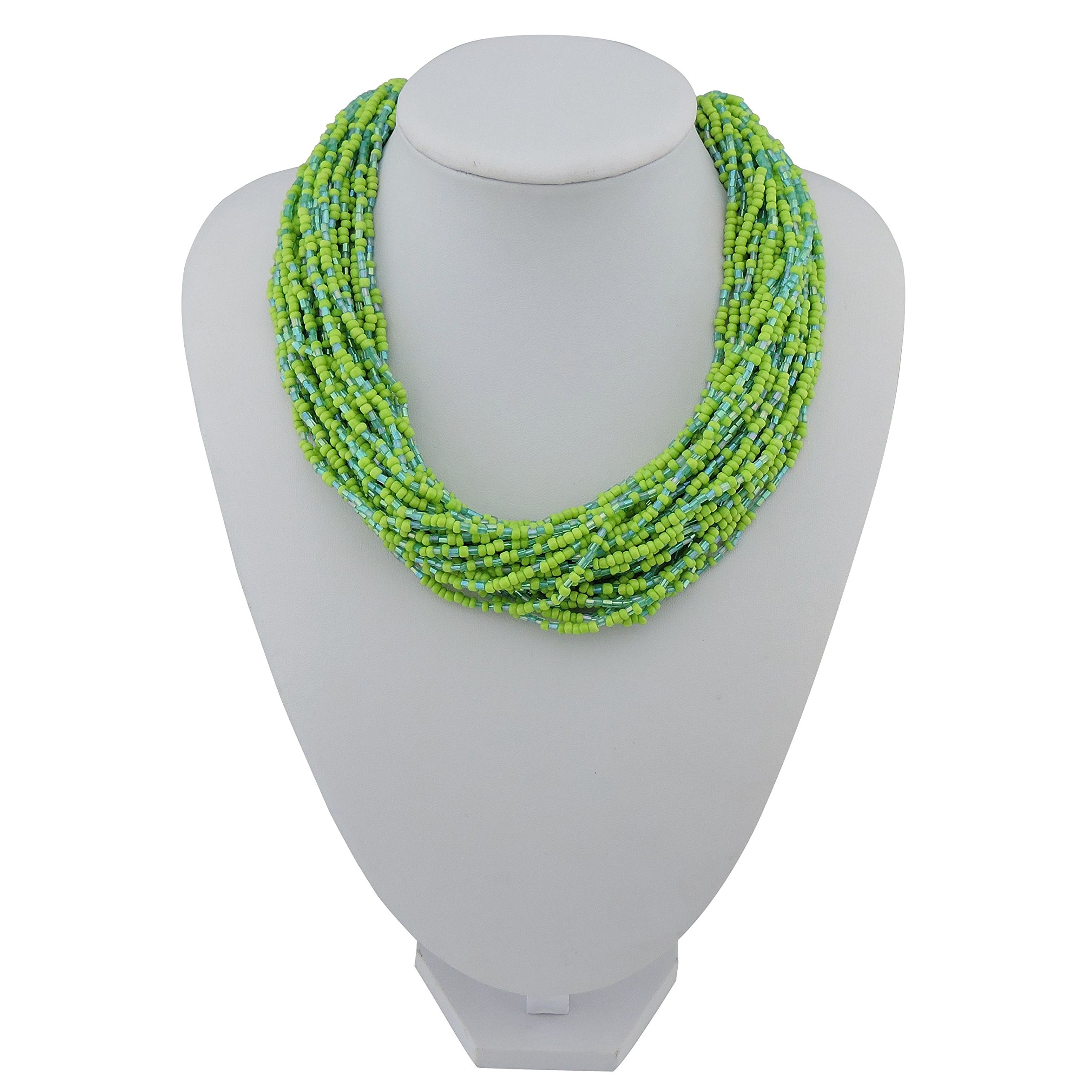 Bocar Multiple Strand Handmade Beaded 16'' Statement Collar Necklace for Women with Gift Box (NK-10402-greenery)