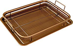 MUSENTIAL 2-Piece Non-Stick Bakeware Set for Oven with Crisper Pan and Cookie Sheet, 13 x 9-Inch (Copper, 1-Set)