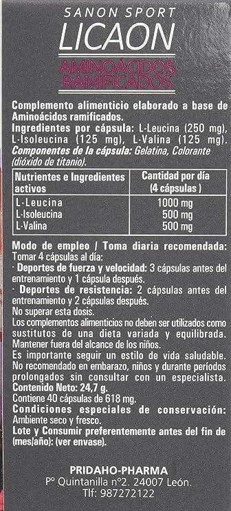 Sanon Sport Licaon Aminoácidos Ramificados BCAAs 2:1:1-2 Paquetes de 40 Cápsulas: Amazon.es: Salud y cuidado personal