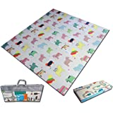 Fun N Well Foldable XPE Baby Play Mat | King Size 197x178x1cm | Non Allergenic & Non Toxic Foam | Waterproof & Reversible | Comfortable & Safe Area to Entertain your Kid | Portable with Free Carry Bag