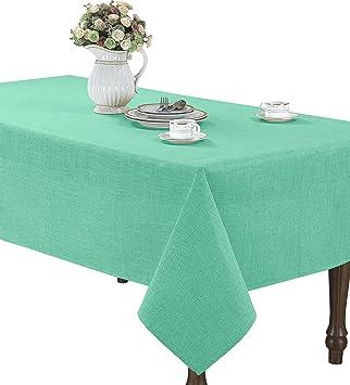Exceptionnel CaliTime High Class Linen Blend Tablecloth Solid Turquoise Color 60u0026quot; X  60u0026quot; Square