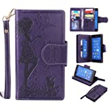 Sony Xperia Z3 Case Leather [Cash and 9 Card Slots], Cozy Hut Elegant Woman and cat Patterned Embossing PU Leather Stand Function Protective Cases Covers with Card Slot Holder Wallet Book Design Fordable Strap Case for Sony Xperia Z3 5.2 Inch - purple