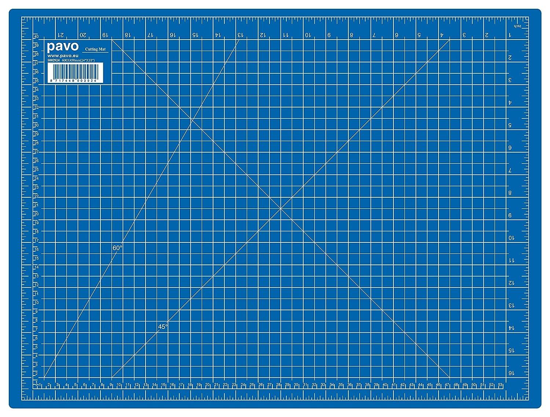 Pavo 8002924 Premium Tappetino da Taglio, Formato A2, 600x450mm, Autorigenerante, Blu