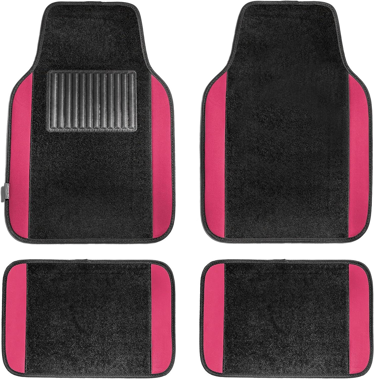 FH Group - FH-F11300 F14407PINK Premium Full Set Carpet Floor Mat (Sedan and SUV with Driver Heel Pad Pink)