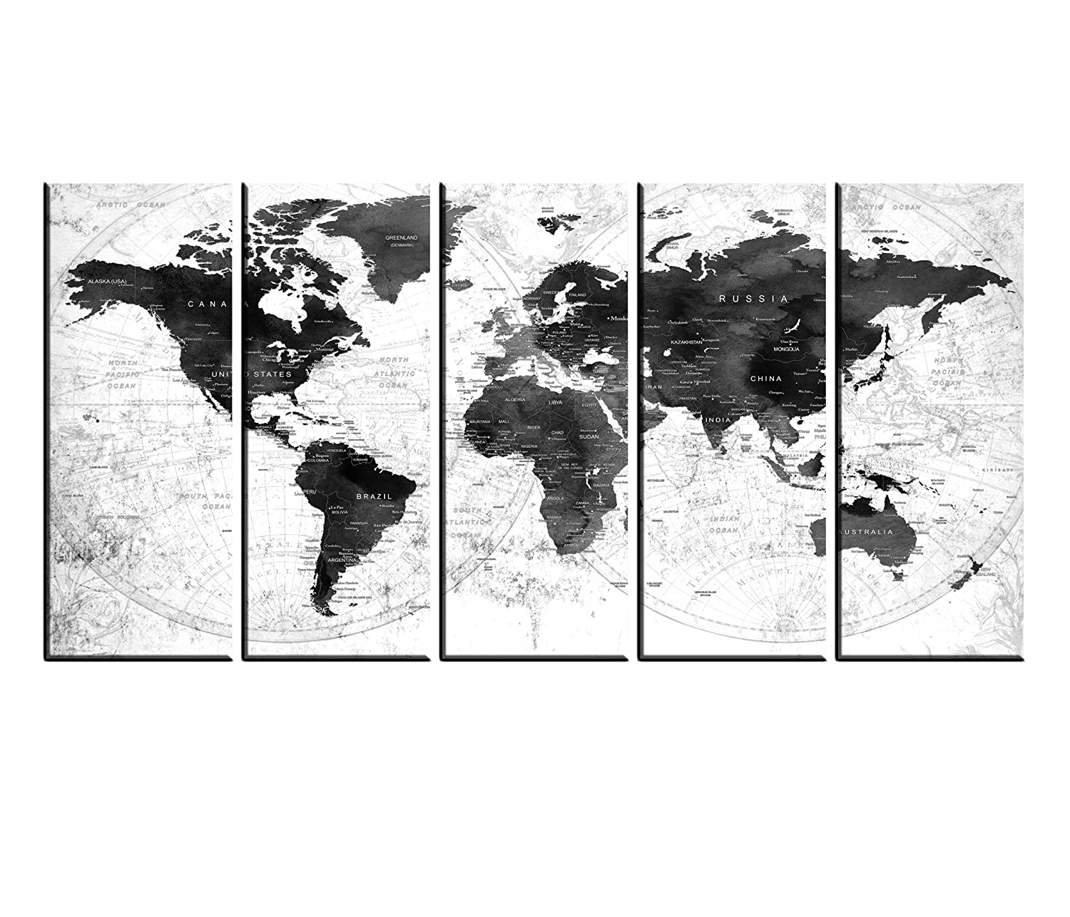 Amazon Com Black And White World Map Canvas Framed Push Pin