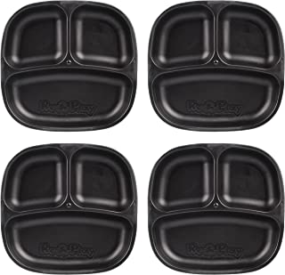 product image for Re-Play Recycled Products Small Divided Plates, Set of 4, Black