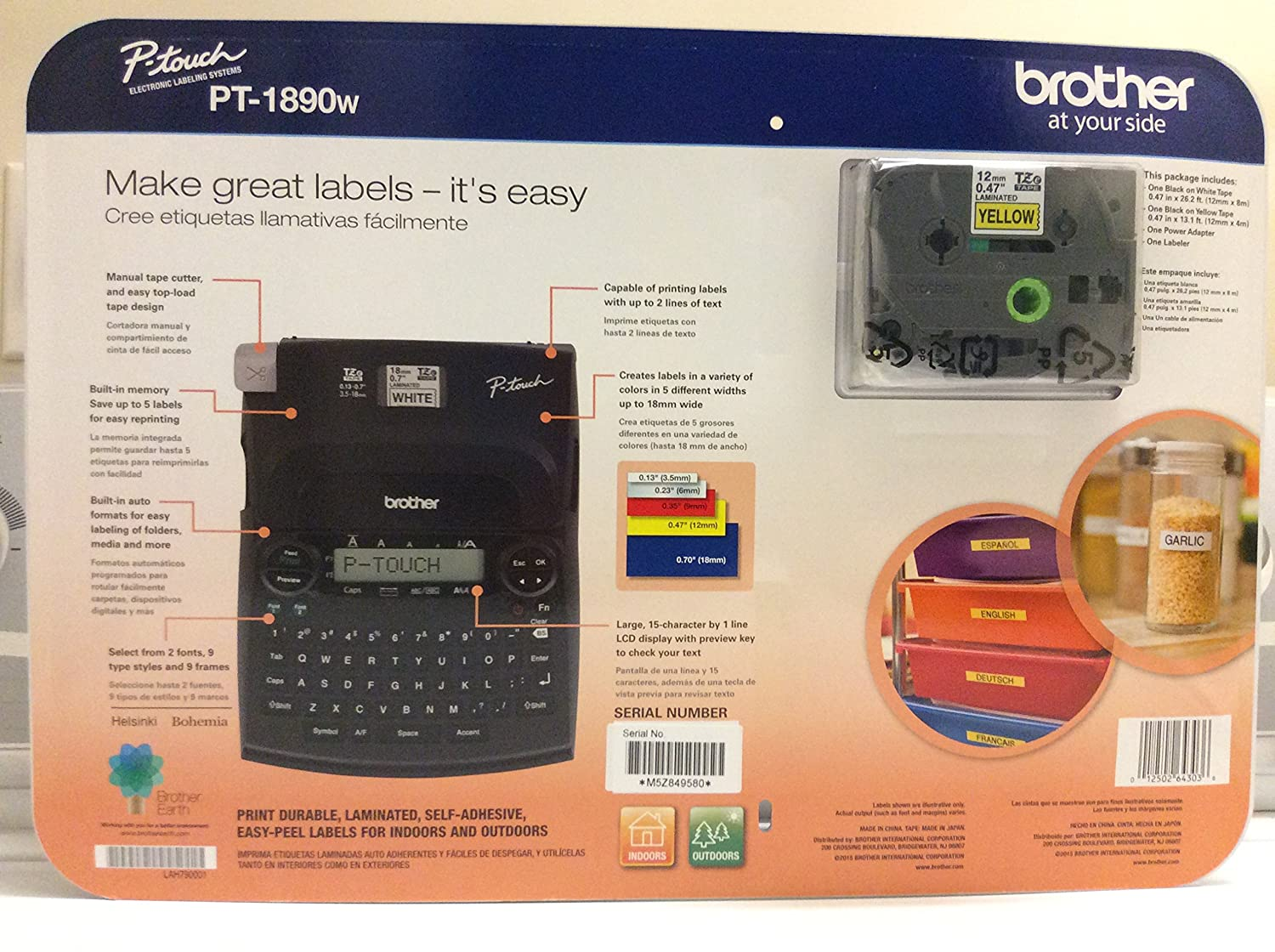 Brother P Touch Label Maker Pt 1890w With Bonus Labeling Tool Qwerty Keyboard 1801611 Makers Electronics Supplies Office Products