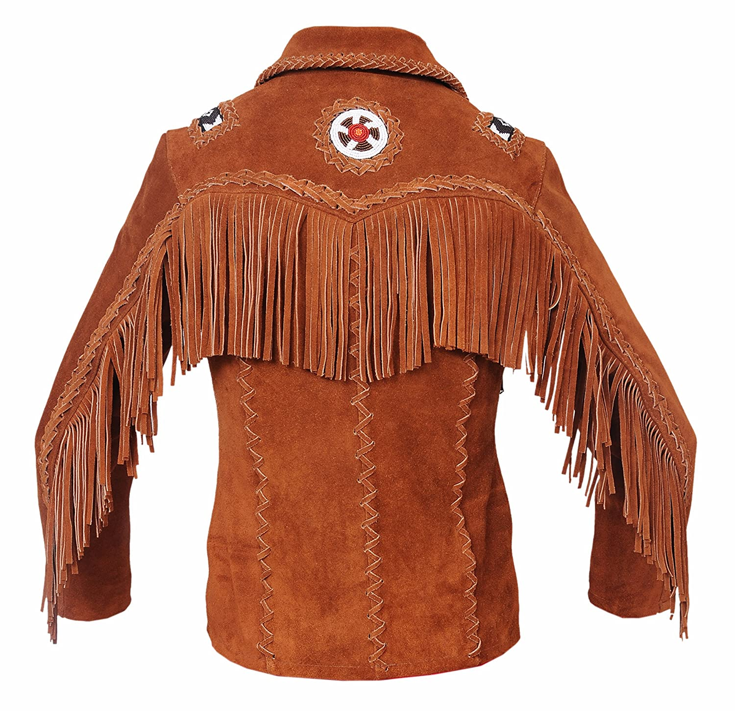 7f94fa07 Baba Geniuse International Mens Cowboy Western Leather Jacket with Fringe  and Bead Small to 4XL at Amazon Men's Clothing store: