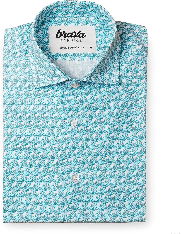 Brava Fabrics | Camisa Hombre Manga Larga Estampada | Camisa Azul para Hombre | Camisa Casual Regular Fit | 100% Algodón | Modelo Japanese Wave | Talla: Amazon.es: Ropa y accesorios