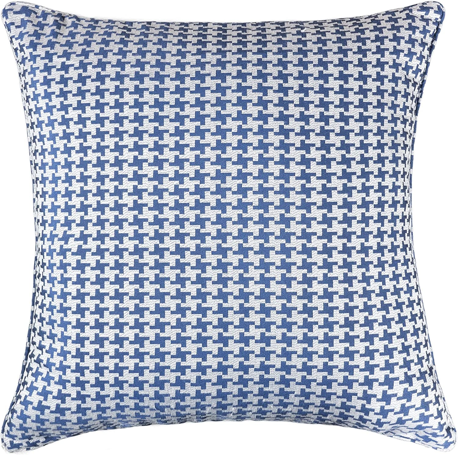 Homey Cozy Jacquard Cotton Throw Pillow Cover Navy Blue Houndstooth Modern Silk Plaid Textured Sofa Couch Decorative Pillow Case 20x20 Cover Only Home Kitchen
