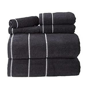 Luxury Cotton Towel Set- Quick Dry, Zero Twist and Soft 6 Piece Set With 2 Bath Towels, 2 Hand Towels and 2 Washcloths By Lavish Home (Black / White)