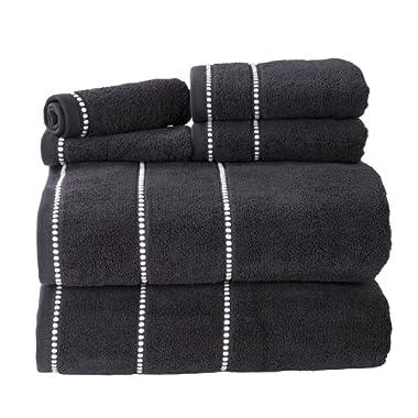 Bedford Home Quick Dry 100Percent Cotton Zero Twist 6Piece Towel Set - Black