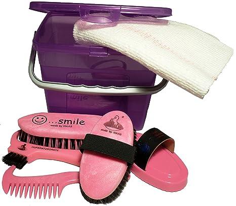 Haas Putzbox für Kinder ein Putzkasten in lila - pink gefüllt mit Striegel Kardätsche Hufkratzer Waschbürste Mähnenkamm und T