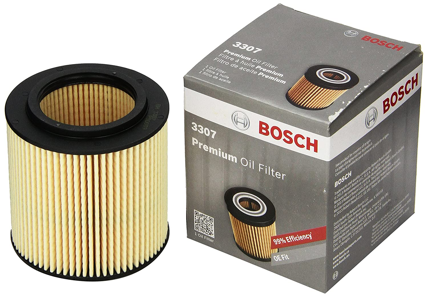 Bosch 3307 Premium FILTECH Oil Filter for Select BMW 128, 135, 228, 235, 240, 320, 323, 325, 340, 428, 435, 440 (xDrive, M, i, L, X, Z) + More 3307