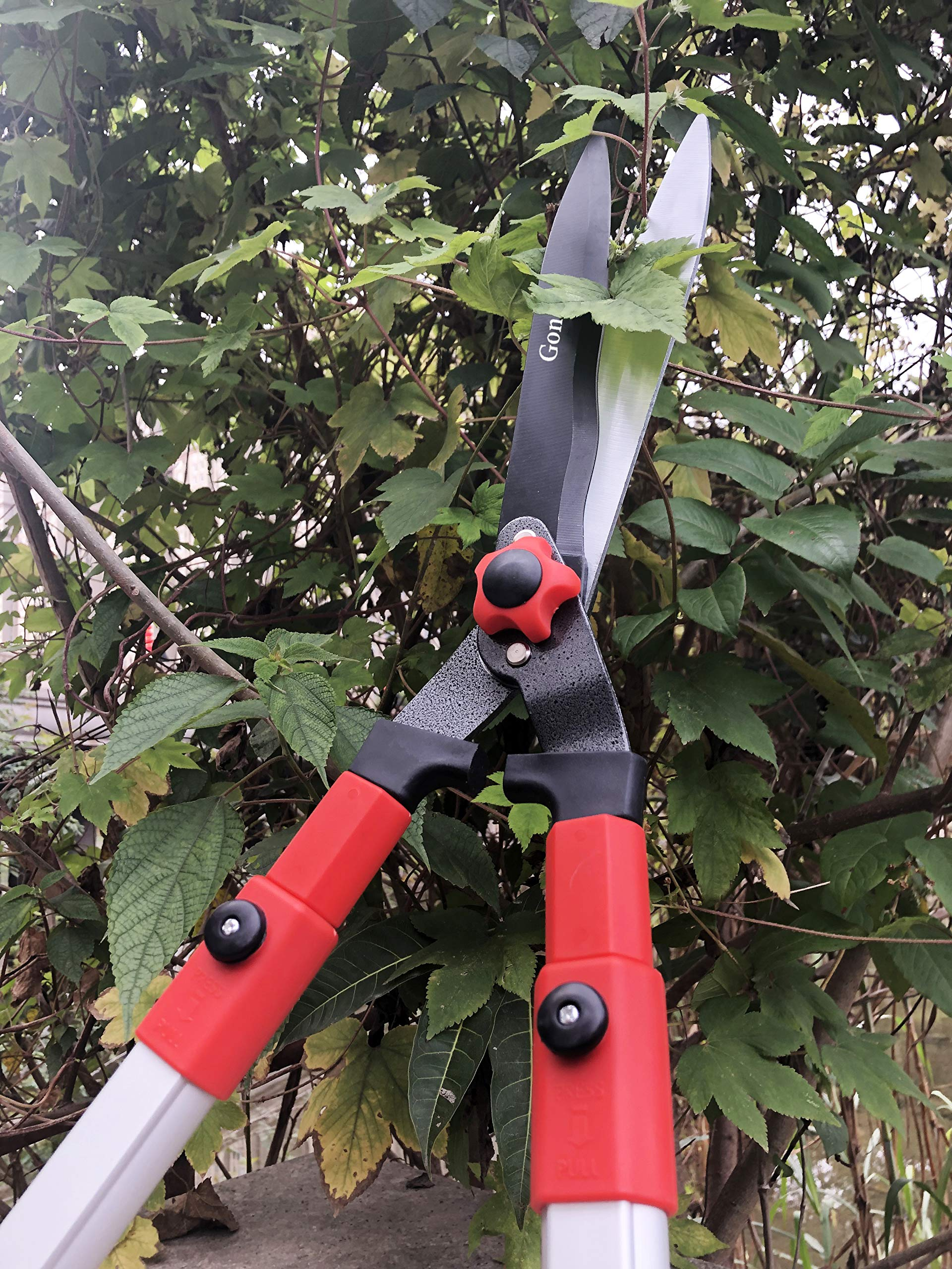 gonicc Professional Adjustable 25''+ 8'' Hedge Shears. with Wavy SK-5 Steel Blade and Shock Absorbing Desig, Adjustable Blade Pressure, Garden Pruning Hand Hedge Trimmers Clippers Shears by gonicc (Image #6)