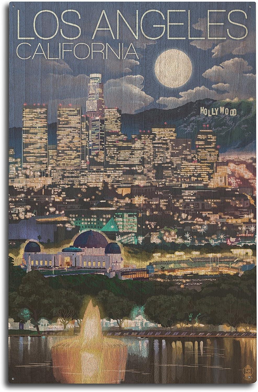 Lantern Press Los Angeles, California - Los Angeles at Night (10x15 Wood Wall Sign, Wall Decor Ready to Hang)
