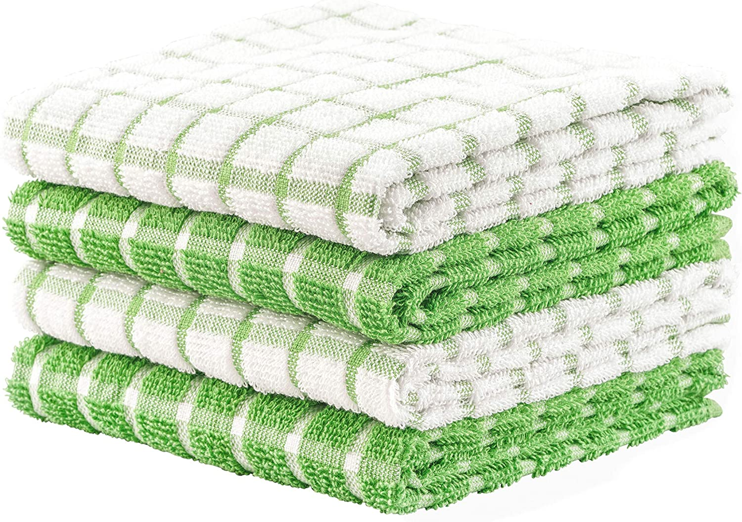DAILY HOME ESSENTIALS - 4 Pack Cotton Terry Kitchen Dish Towel Set (16x26 Inches - Green, Checked Design) |Super Soft and Highly Absorbent|Perfect for Everyday Household & Commercial Use