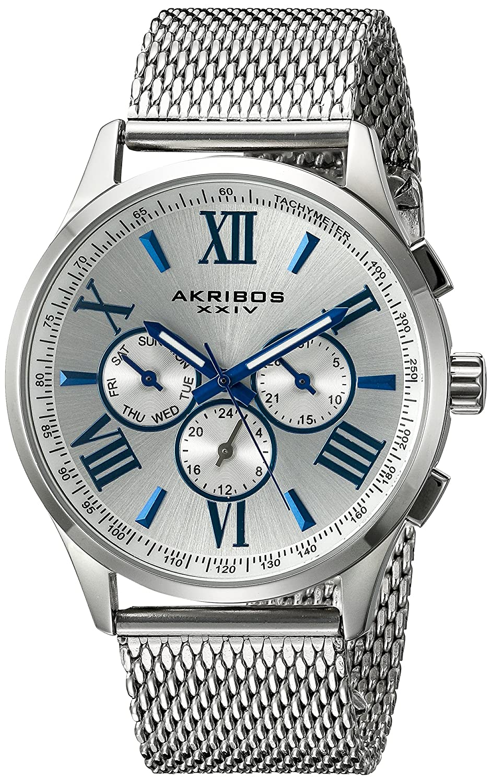 Amazon.com: Akribos XXIV Mens AK844 Round Navy Radiant Sunburst Dial Two Time Zone Quartz Staniless Steel Bracelet Watch (Black): Watches