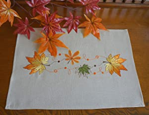 "GRANDDECO Thanksgiving Harvest Table Runner,Embroidered Maple Leaves Dresser Scarf Table Cover, Autumn Or Fall Decorations (Placemat 13"" x19"" Set of 4, Maple Leaves-2)"