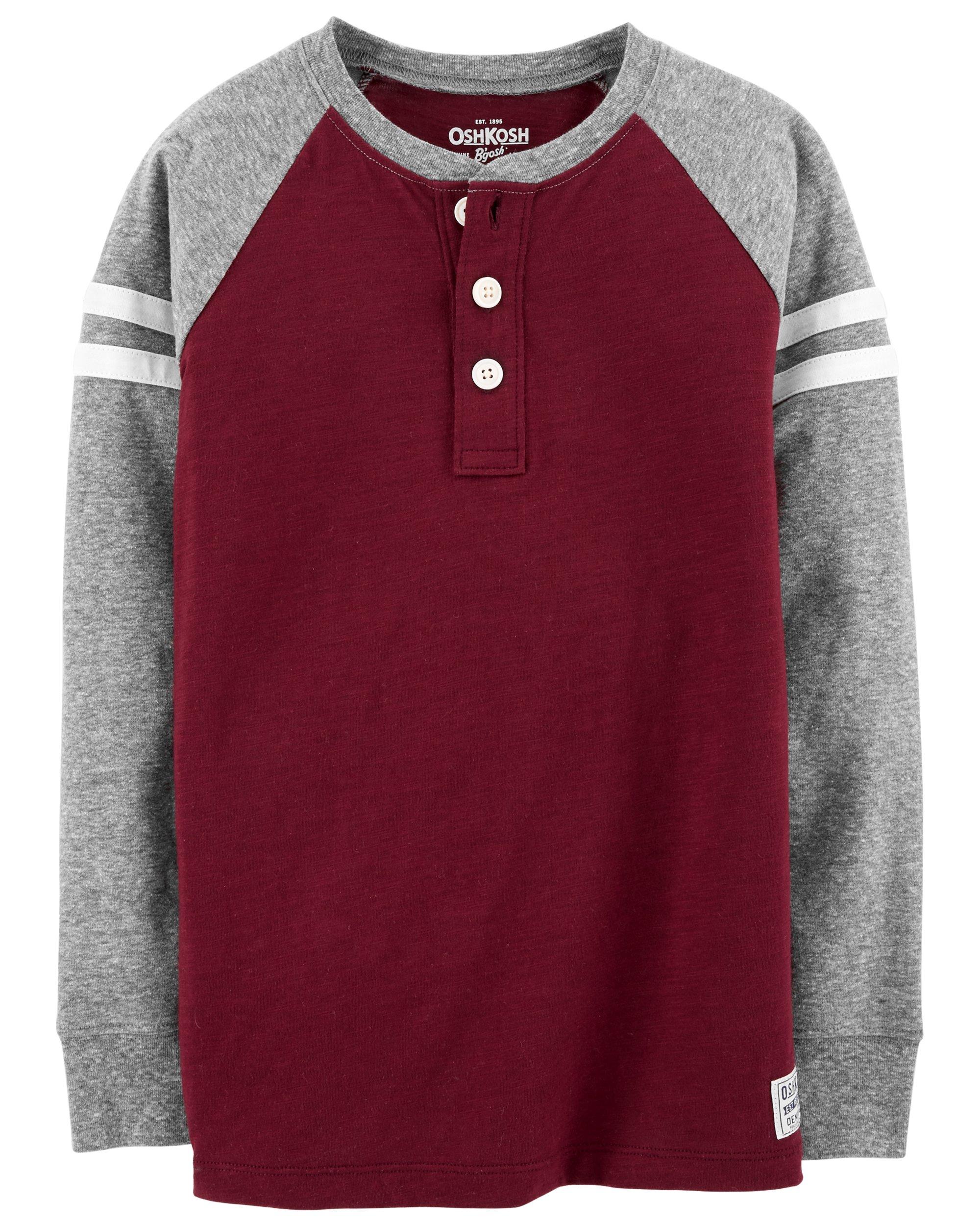 Osh Kosh Boys' Kids Long Sleeve Raglan Henley, Burgundy/Grey, 4-5