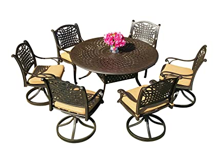 Round Table Patio Dining Sets.Everhome Designs Malibu 7 Piece 60 Round Cast Aluminum Patio Dining Set With Premium Sunbrella Cushions 6 Swivel Rocking Chairs