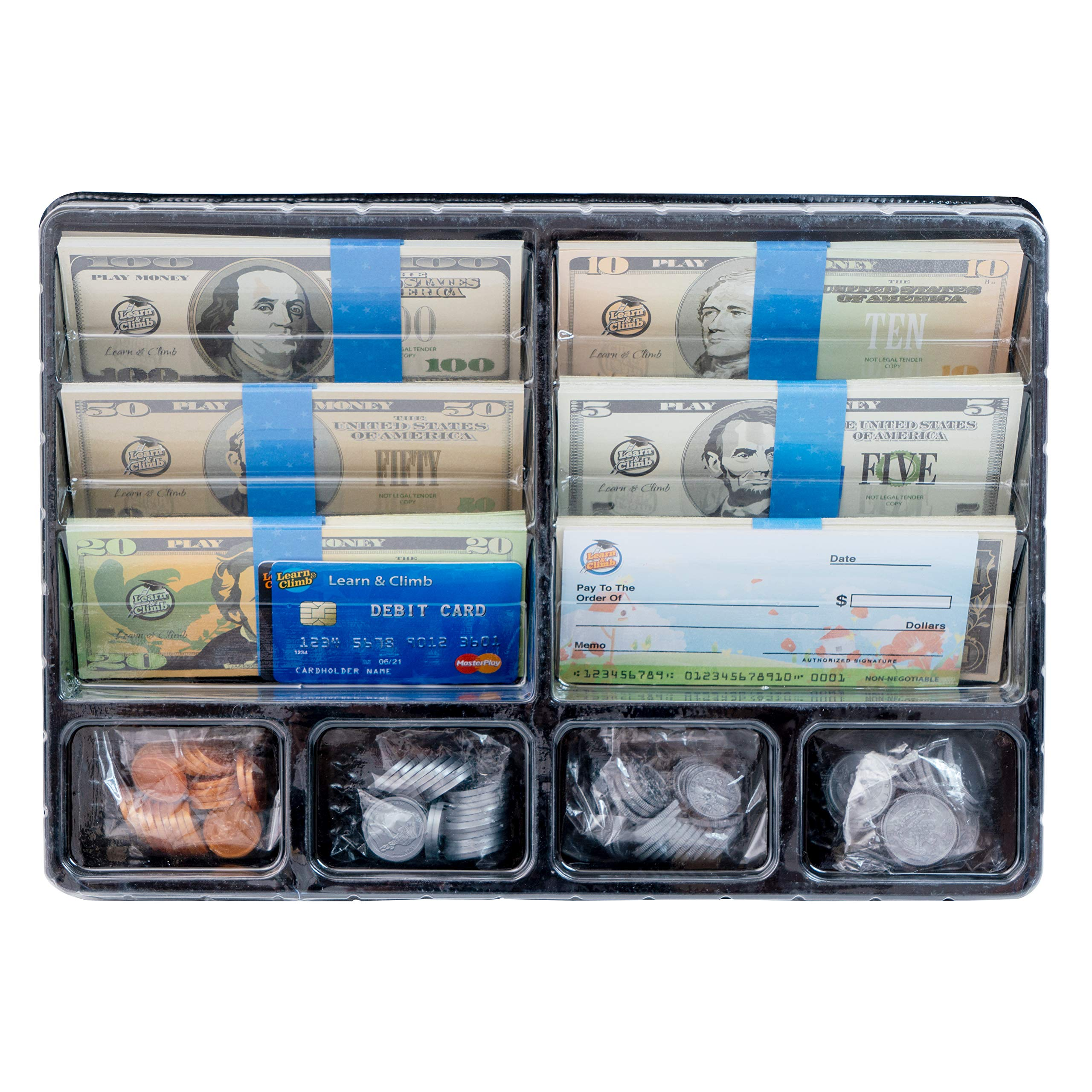 Learn & Climb Play Money Set for Kids - Realistic Dollar Bills, Coins, Credit & Debit Cards & Checkbook. Add-on for Pretend Play Cash Register
