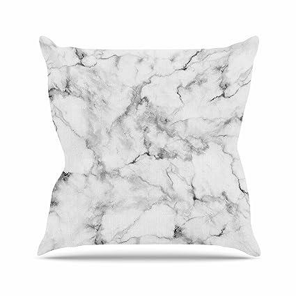 Amazon Com Kess Inhouse Original White Marble Gray White Outdoor