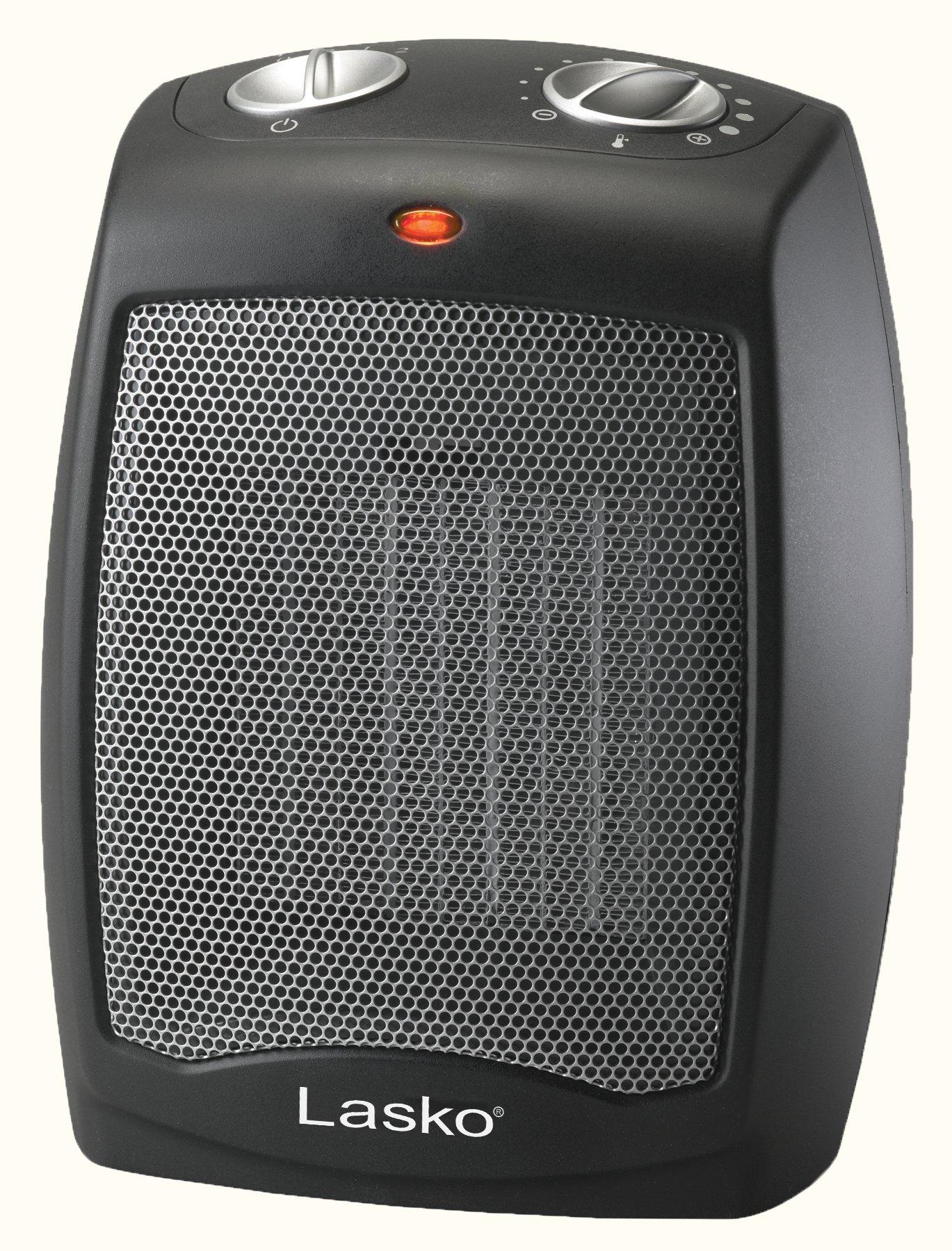 Lasko CD09250 Ceramic Heater with Adjustable Thermostat Tabletop Or Under-Desk, Black by Lasko