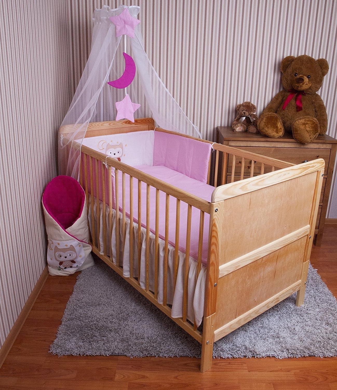 Amilian/® Baby Bettw/äsche Himmel Nestchen Bettset MIT STICKEREI 100x135cm Neu f/ür Babybett Eule rosa