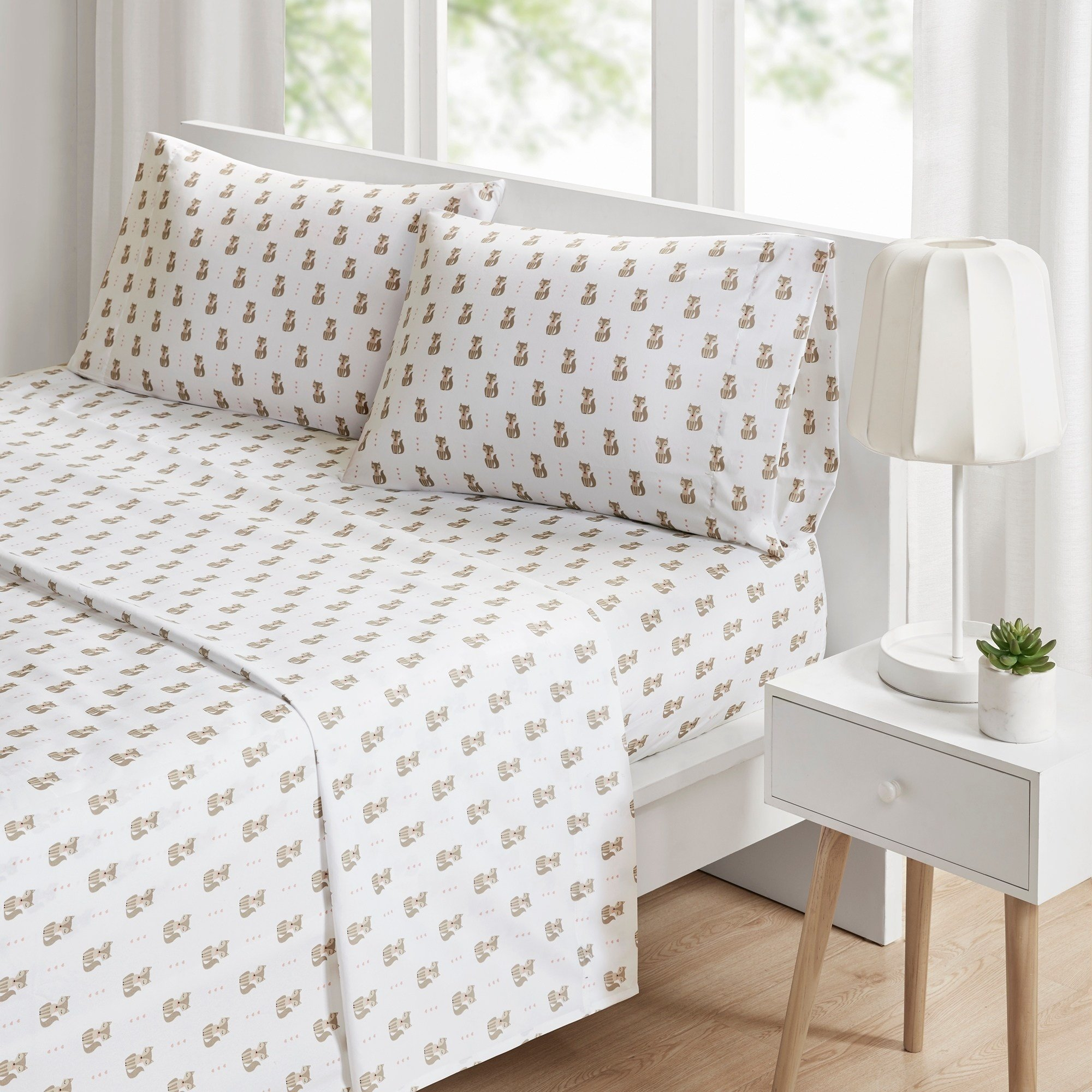 TN 3 Piece Off White Blue Cute Foxes Sheet Set Twin XL Sized, Cuddly Fox Bedding Pink Hearts Pattern Forest Animal Kids Childrens, Microfiber Polyester by TN (Image #2)