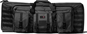 Double Rifle Bag | 2 Rifles + 2 Pistols Tuckable Backpack Straps | Combat Veteran Owned Company | Waterproof Padded Lockable Carbine or Long Gun Case