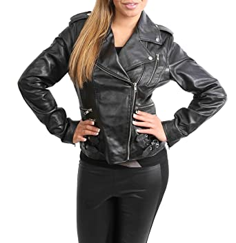 Womens Real Leather Biker Motorcycle Style Fitted Cross Zip Jacket Cara Black (X-Small