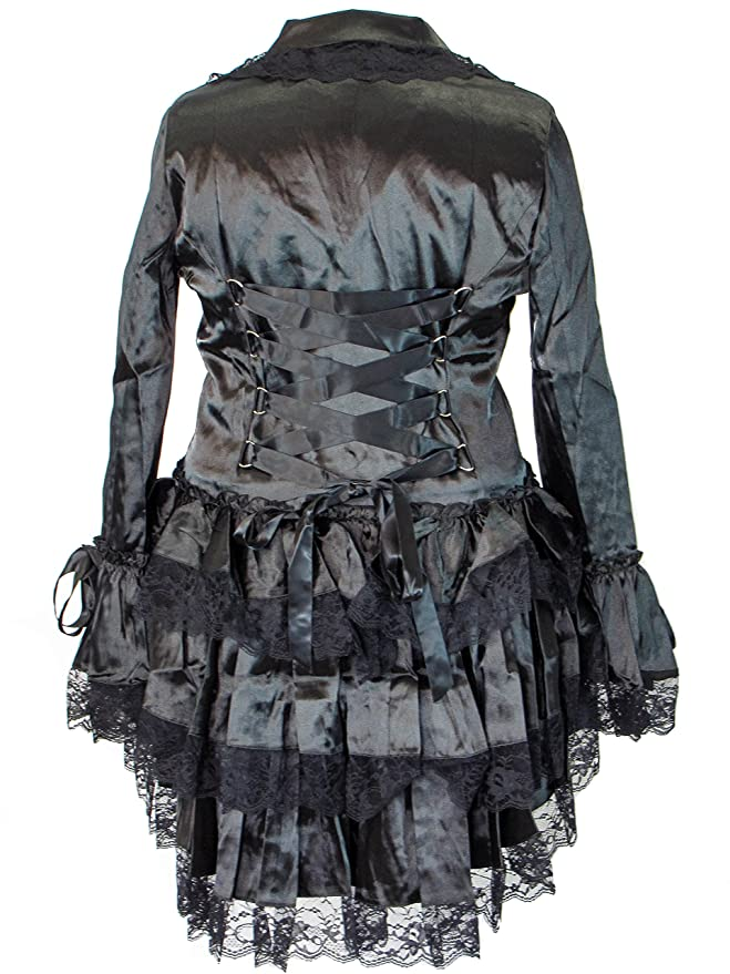 Steampunk Jacket | Steampunk Coat, Overcoat, Cape Plus Size Victorian Steampunk Gothic Punk Corset Black Satin Ruffled Tail Jacket $73.95 AT vintagedancer.com
