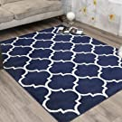 "Ottomanson RYL1324-5X7 Royal Collection Trellis Design Area Rug, 5'3"" X7'0, Navy"