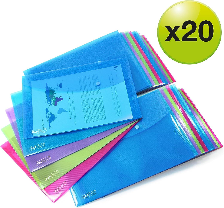 Rapesco Documentos - Carpeta portafolios A4+ horizontal, en varios colores traslúcidos, 20 unidades, polipropileno, foolscap
