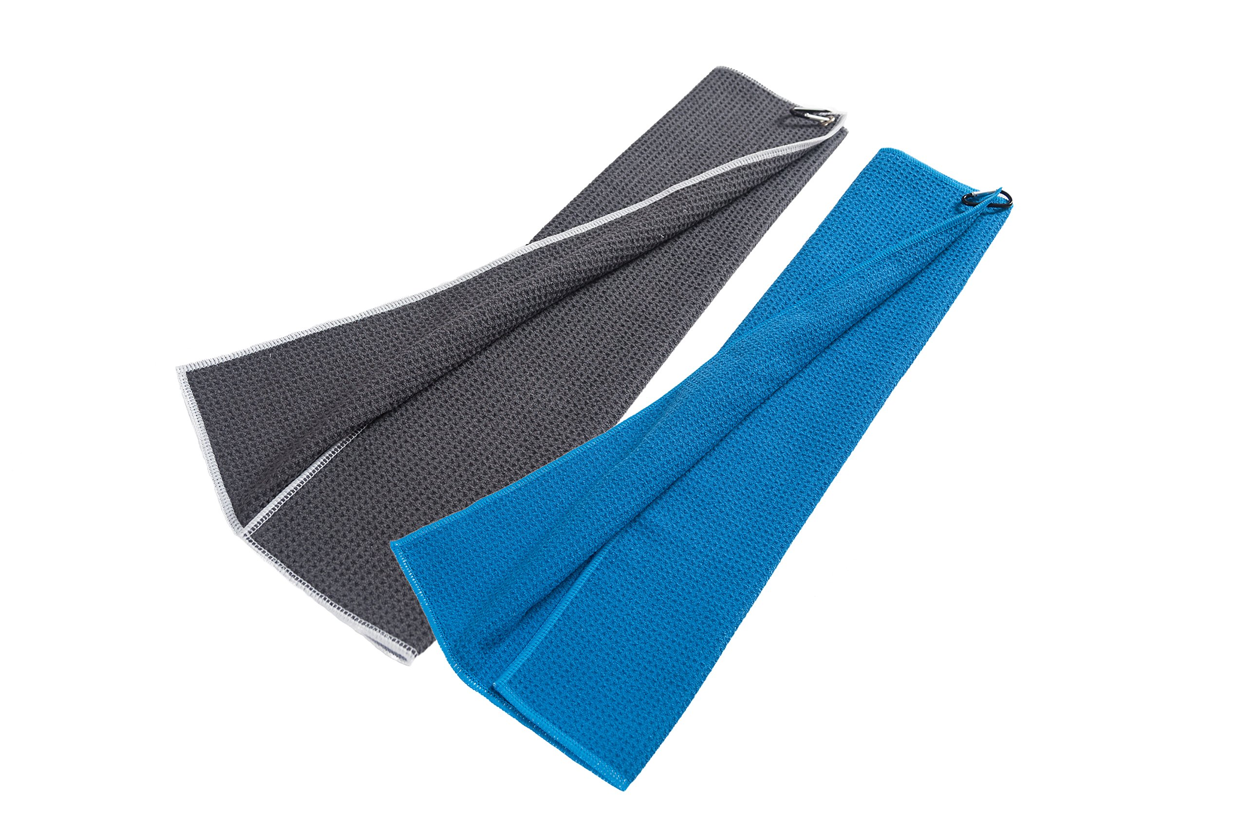 Microfiber Deep Waffle Weave Golf Towel 2 pack,Light Weight & Quick Drying. Best for Cleaning all types of Clubs, Irons & Drivers.(Blue & Gray 16''x21'')