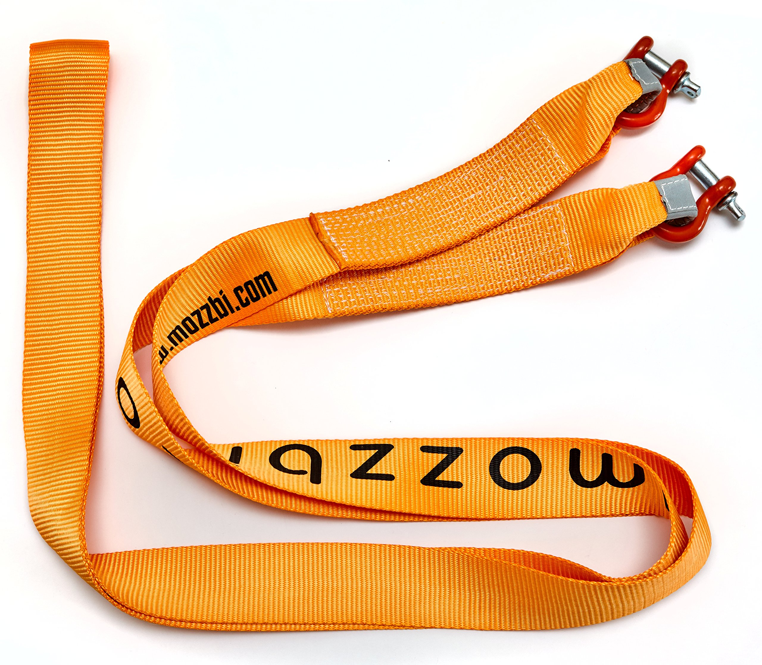 Mozzbi Recovery Towing Strap 3'' with D-Ring Shackle and Loops End Heavy Duty 20000 lbs, 5M Long by Mozzbi